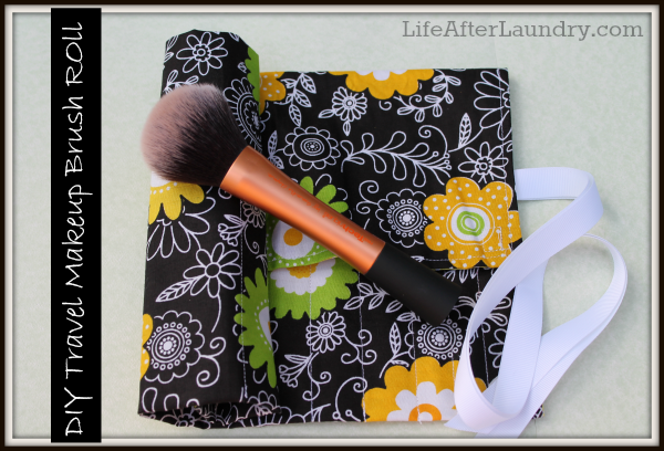 DIY Travel Makeup Brush Roll. Great for yourself or a gift. Quick and Easy to Sew from Life After Laundry.