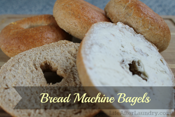 Easy Homemade Bagels using a bread machine. | Lifeafterlaundry.com | #bread #recipe #bread machine #homemade #easy