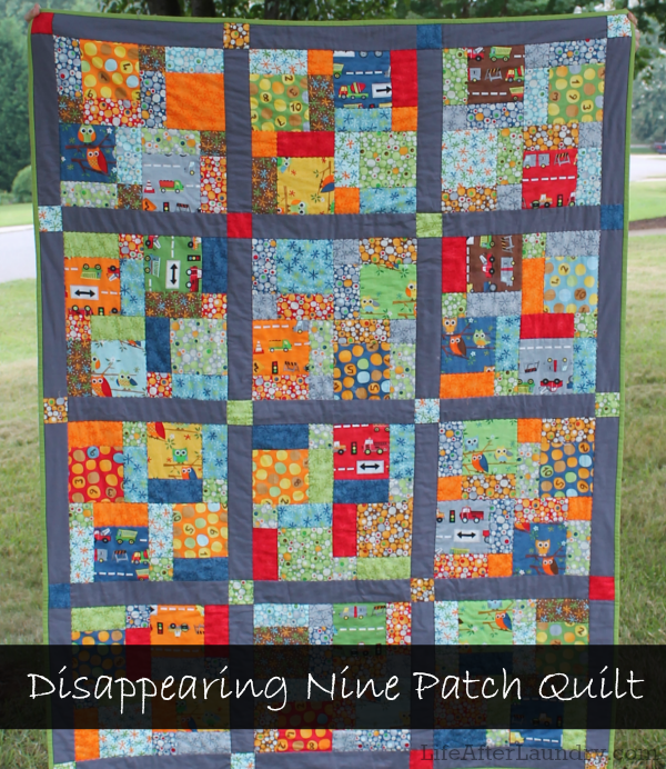 Disappearing Nine Patch Quilt | LifeAfterLaundry.com | #quilting #handquilting #modafabric