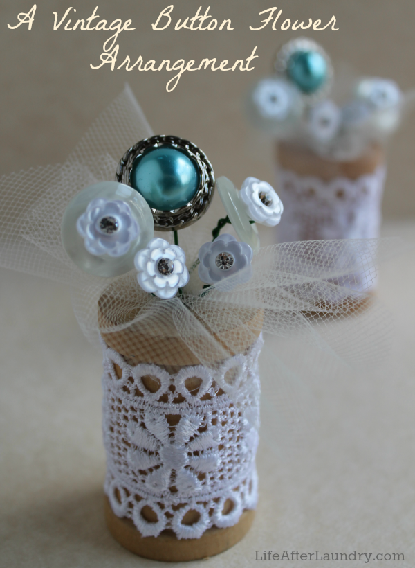 A vintage Button Flower Arrangement