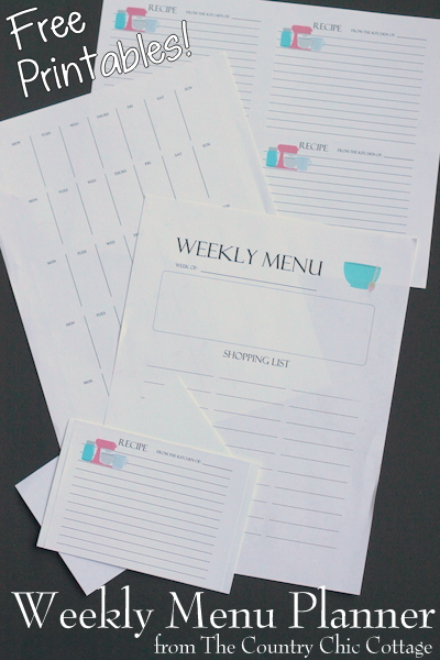 free printable weekly menu planner and recipe cards