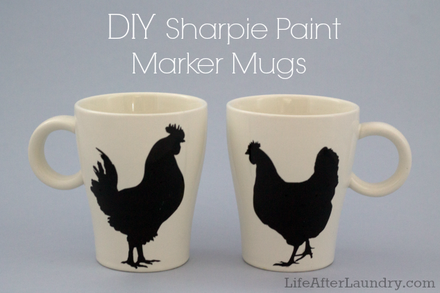 DIY Sharpie Paint Marker Mugs  LifeAfterLaundry.com  #DIY #Crafts #Gifts #Paint #Markers #Sharpie