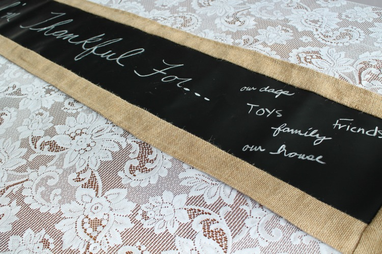 chalkboard fabric table runner