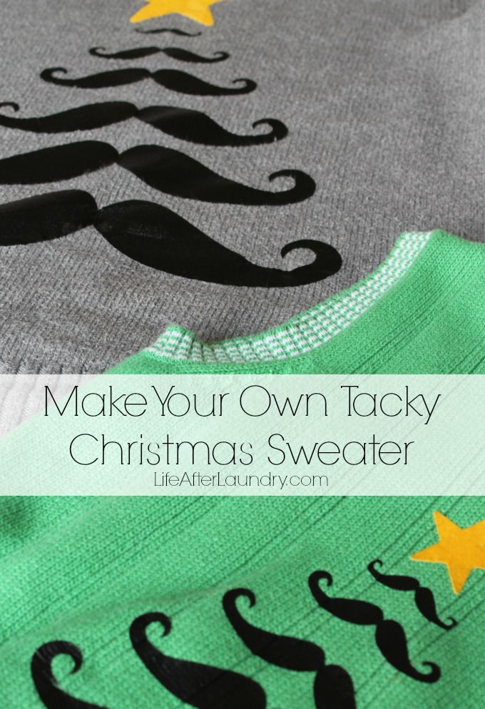 Make your own tacky Christmas Sweater via LifeAfterLaundry.com