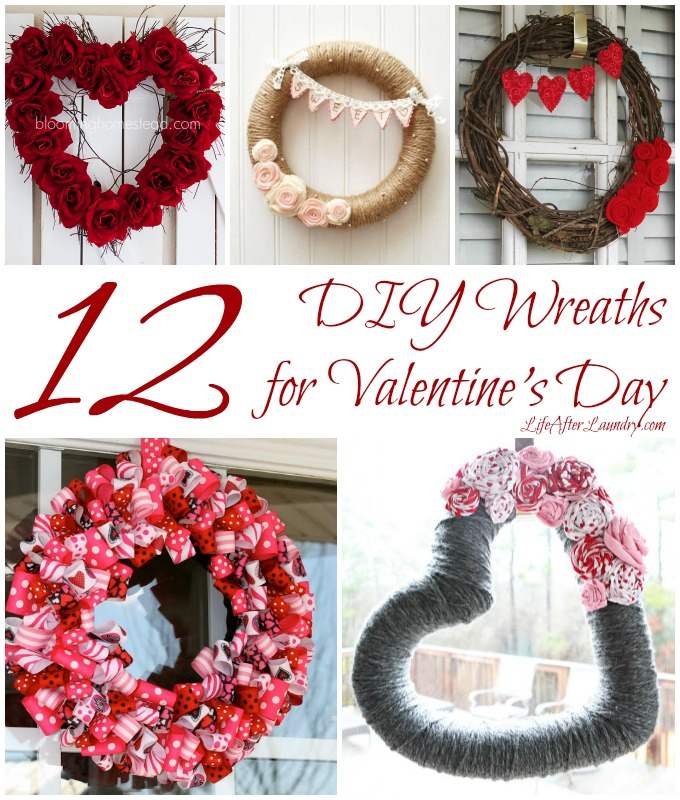 12 DIY Wreaths for Valentine's Day via LifeAfterLaundry.com
