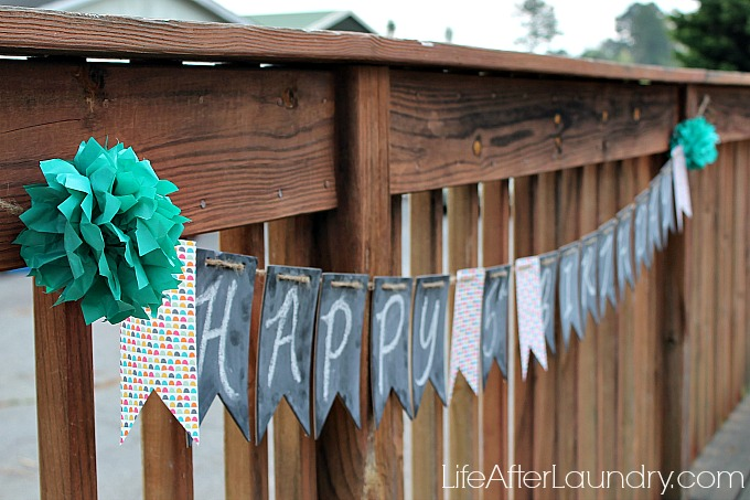 Simply created chalkboard banner via lifeafterlaundry.com